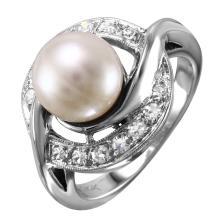 NEW Illuminating Chinese White Pearl and Diamond 14KT White Gold Swirl Ring - #1731