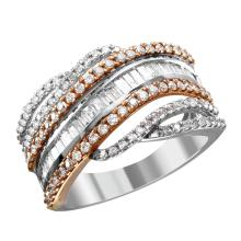 NEW Multi-Row 1.88ctw Mixed Cut Diamond 10KT Rose and White Gold Modern Band - #2044