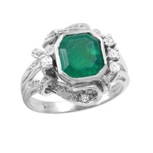 Edwardian Vintage Style Inspired 2.85ctw Emerald and Diamond 14KT White Gold Ornate Ring - #746
