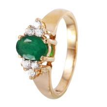 Regal 1.05ctw Emerald and Diamond 14KT Yellow Gold Cluster Ring - #1093