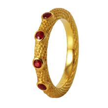 Genuine Authentic Designer Jane Bohan Ruby 18KT Yellow Gold Textured Ring - #354