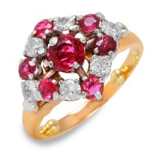 Vintage 1.75ctw Ruby and Diamond 14KT Yellow Gold Checkerboard Ring - #132