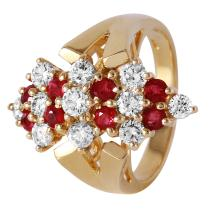 Gorgeous 2.21ctw Ruby and Diamond 14KT Yellow Gold Cluster V-Design Ring - #372