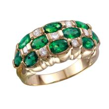Elegant 2.31ctw Emerald and Diamond 14KT Yellow Gold Checkerboard Ring - #1676