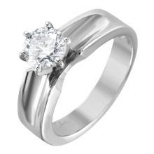 Sleek Brilliant Diamond 14KT White Gold Scalloped Engagement Ring - #1483