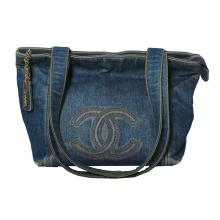 Stunning Genuine Authentic Designer Chanel Denim Double Strap Tote Bag with Dust Bag - #402