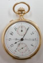 Vintage Rare Authentic Louis Audemars Rattrapante Chronograph 18KT Engraved Gold Pocket Watch - #829
