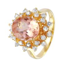NEW Glamorous Titania Style 4.04ctw Morganite and Diamond 14KT Yellow Gold Ring - #1482