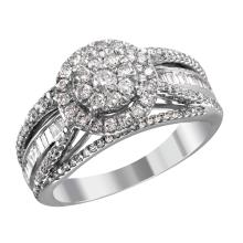 NEW Deco Style Inspired Cluster 1.09ctw Mixed Cut Diamond 10KT White Gold Engagement Ring - #2052