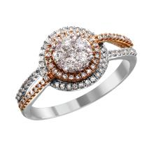 NEW Antique Style Inspired Diamond 10KT Rose and White Gold Two Tiered Halo Engagement Ring - #2043