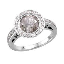 Gorgeous Vintage Style Inspired 2.67ctw Bezel Diamond 18KT White Gold Engagement Ring - #1679
