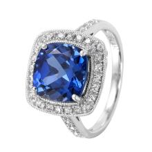 Fancy Antique Style 3.99ctw Cushion Tanzanite and Diamond 14KT White Gold Ring - #28