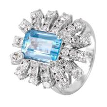 New Fireworks 5.03ctw Aquamarine and Diamond 14KT White Gold Luxury Ring - #1341
