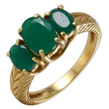 Three Stone 1.92ctw Oval Emerald 14KT Yellow Gold Ring - #19