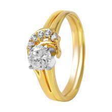Corona Style Diamond 14KT Yellow Gold Engagement Ring - #222