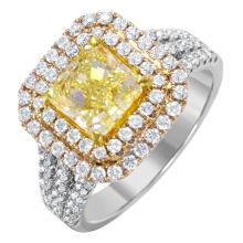 NEW Enchanting 2.66ctw Radiant Diamond 18KT Two Tone Gold Engagement Ring - #1631