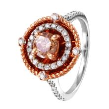 NEW Hollywood Glamor 1.16ctw Diamond 14KT Rose and White Gold Rope Engagement Ring - #1361