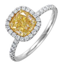 NEW Halo Vintage Style Inspired 2.18ctw Fancy Yellow and White Diamond 18KT White Gold Engagement Ring GIA Gem Trade Laboratory Report #14682846 Cert. - #1630