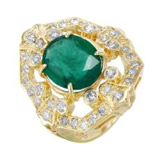NEW Artisan Style 4.58ctw Emerald and Diamond 14KT Yellow Gold Ring - #1525