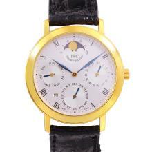 Genuine Authentic Designer Slim IWC Ref. 2050 Portofino Romana Perpetual Calendar 18KT yellow Gold Moon Phases Watch - #753