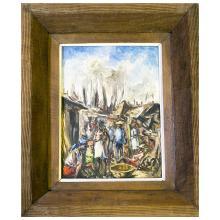 Haitian Impressionist Master Artist Ernest Louizor Oil on Wood Villager Scene Framed - #2296