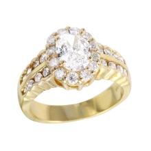 Elegant Victorian Style 1.77ctw Oval Diamond 14KT Yellow Gold Ring - #734