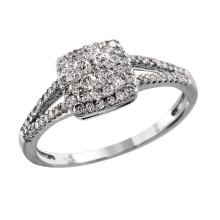 NEW Exquisite Deco Style Inspired Diamond 10KT White Gold Engagement Ring - #2077
