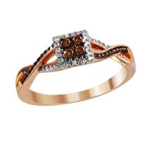 Statement of Style Antique Inspired Fancy Chocolate and White Diamond 14KT Rose Gold Criss-Cross Milgrain Ring - #2056
