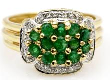 Sophisticated 1.17ctw Emerald and Diamond 14KT Yellow Gold Cluster Triple Ring - #51