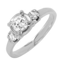 Vintage Style Brilliant Diamond 14KT White Gold Engagement Ring - #542
