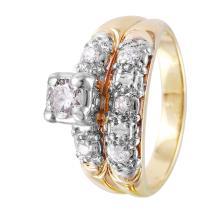 Glittering Beautiful Diamond 14KT Yellow Gold Engagement Ring and Wedding Band - #1358