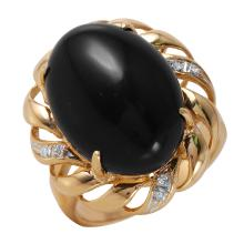 Bold 14.13ctw Black Onyx and Diamond 14KT Yellow Gold Scalloped Cocktail Ring - #59