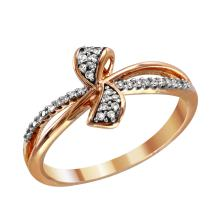 Graceful Sparkling Round Brilliant Diamond 10KT Rose and Yellow Gold Bow Ribbon Ring - #2053