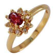 Cluster Ruby and Diamond 14KT Yellow Gold Ring - #32