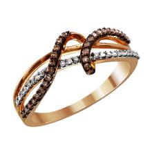 Inspirational Ribbon Design Fancy Cognac and White Diamond 10KT Rose and Yellow Antiqued Finish Triple Ring - #2049