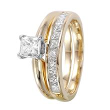 Glistening 1.10ctw Princess Diamond 14KT Yellow Gold Wedding Ring Set - #964