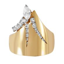 Retro Modern Mixed Cut Diamond 14KT Yellow Gold Ring - #257