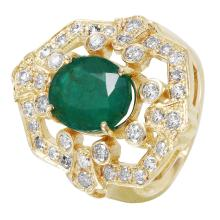 NEW Decadent 4.414ctw Emerald and Diamond 14KT Yellow Gold Oasis Ring - #1493