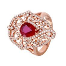 Elizabeth 2.51ctw Ruby and Diamond 14KT Rose Gold Trellis Ring - #705
