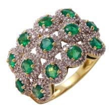 Antique Inspired 1.99ctw Emerald and Diamond Encrusted 14KT Yellow Gold Ring - #17