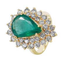 NEW Luxury 6.05ctw Emerald and Diamond 14KT Yellow Gold Two-Tiered Cluster Ring - #1489