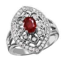 NEW Trellis 1.20ctw Ruby and Diamond 14KT White Gold Vintage Inspired Style Ring - #1996