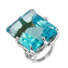 Bold Celebrity Inspired Large Rectangular Simulated Aquamarine Sterling Silver Solitaire Cocktail Ring - #1709