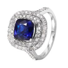 NEW Double Tier 4.05ctw Natural Sapphire and Diamond 14KT White Gold Luxury Cocktail Ring - #1516
