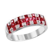 NEW Basket Weave 1.56ctw Ruby and Diamond 14KT White Gold Band - #2037