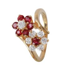 Mimosa Floral Cluster Diamond and Ruby 14KT Yellow Gold Cluster Ring - #1153