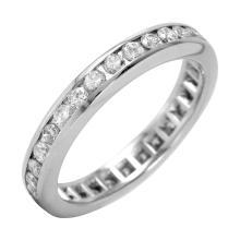 Round Brilliant Cut Diamond 18KT White Gold Eternity Band - #23