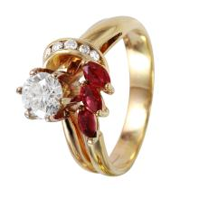 Milady 1.00ctw Diamond and Ruby Swirl Engagement 14KT Yellow Gold Ring - #1124