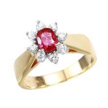 Vibrant Ruby and Diamond 14KT Yellow Gold Cluster Ring - #1822