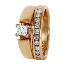 Forever Princess Diamond 14KT Yellow Gold Engagement Ring and Band - #456A